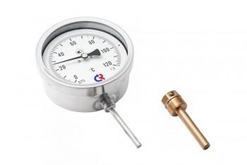 Термометр Биметалл 100мм, 120 *С, L=100мм Радиал. с Гильзой - Производство и продажа полипропиленовых труб «МегаТерм»