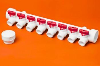 ППРС Коллектор 40-20х8 красный кран - Производство и продажа полипропиленовых труб «МегаТерм»