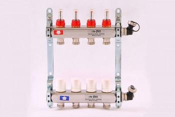 """Колл. группа 1""""х3/4"""" 4 вых. с расходомерами и термост. вентилями н/с - Производство и продажа полипропиленовых труб «МегаТерм»"""