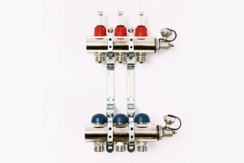 """Колл. группа 1""""х3/4"""" 3 вых. с расходомерами и термост. вентилями н/с - Производство и продажа полипропиленовых труб «МегаТерм»"""