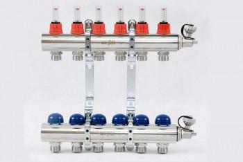 """Колл. группа 1""""х3/4"""" 6 вых. с расходомерами и термост. вентилями н/с - Производство и продажа полипропиленовых труб «МегаТерм»"""