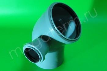 Канализация Отвод-Тройник 110-50х45* Левый, серый - Производство и продажа полипропиленовых труб «МегаТерм»
