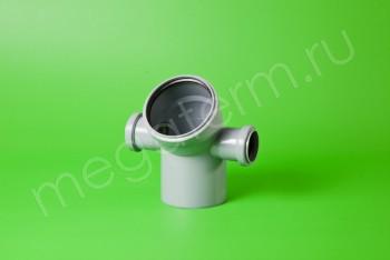 Канализация Отвод-Тройник 110-50-50х45* Левый/Правый, серый - Производство и продажа полипропиленовых труб «МегаТерм»