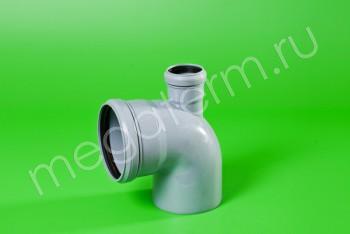 Канализация Отвод-Тройник 110-50х90* Прямой, серый - Производство и продажа полипропиленовых труб «МегаТерм»