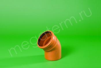 Канализация Отвод 110 х 45* Наружный рыжий - Производство и продажа полипропиленовых труб «МегаТерм»