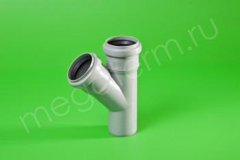 Канализация Тройник  50 - 50 х 45*, серый - Производство и продажа полипропиленовых труб «МегаТерм»