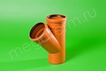 Канализация Тройник 110 -110 х 45*, Наружный рыжий - Производство и продажа полипропиленовых труб «МегаТерм»