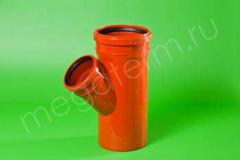 Канализация Тройник 315-250 х 45*, Наружный рыжий - Производство и продажа полипропиленовых труб «МегаТерм»