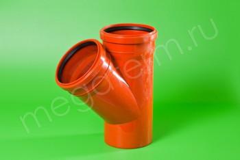 Канализация Тройник 160 -160 х 45*, Наружный рыжий - Производство и продажа полипропиленовых труб «МегаТерм»