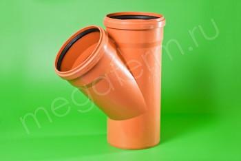 Канализация Тройник 250 -250 х 45*, Наружный рыжий - Производство и продажа полипропиленовых труб «МегаТерм»
