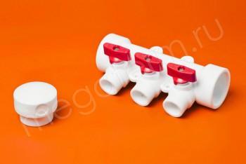 ППРС Коллектор 40-20х3 красный кран - Производство и продажа полипропиленовых труб «МегаТерм»