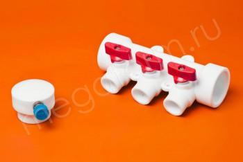 ППРС Коллектор 40-20х3 красный кран с возд - Производство и продажа полипропиленовых труб «МегаТерм»