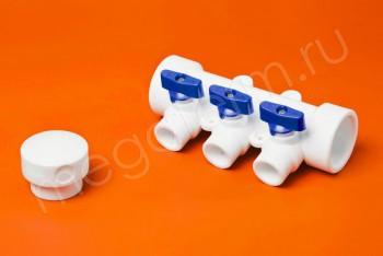 ППРС Коллектор 40-20х3 синий кран - Производство и продажа полипропиленовых труб «МегаТерм»
