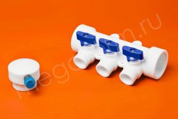 ППРС Коллектор 40-20х3 синий кран с возд - Производство и продажа полипропиленовых труб «МегаТерм»