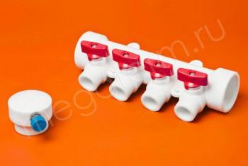 ППРС Коллектор 40-20х4 красный кран с возд - Производство и продажа полипропиленовых труб «МегаТерм»