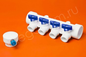 ППРС Коллектор 40-20х4 синий кран с возд - Производство и продажа полипропиленовых труб «МегаТерм»
