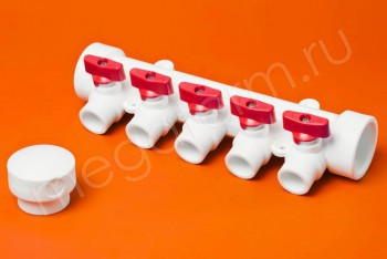 ППРС Коллектор 40-20х5 красный кран - Производство и продажа полипропиленовых труб «МегаТерм»