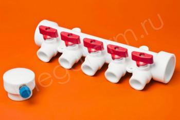 ППРС Коллектор 40-20х5 красный кран с возд - Производство и продажа полипропиленовых труб «МегаТерм»