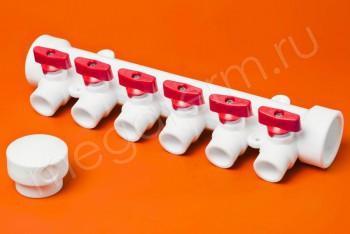 ППРС Коллектор 40-20х6 красный кран - Производство и продажа полипропиленовых труб «МегаТерм»