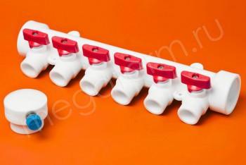 ППРС Коллектор 40-20х6 красный кран с возд - Производство и продажа полипропиленовых труб «МегаТерм»