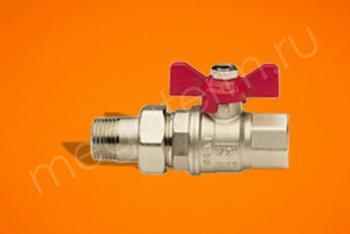 Латунь. Кран Шаровый.Вода Ду 15 М-НГ/П Бабочка, Никель - Производство и продажа полипропиленовых труб «МегаТерм»