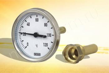 Термометр Биметалл  63мм, 120 *С, L=100мм Осевой с Гильзой - Производство и продажа полипропиленовых труб «МегаТерм»