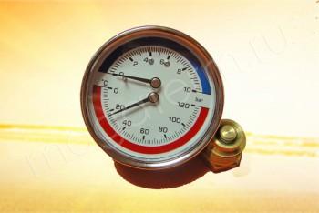 """Термоманометр  Аксиальный 1/2"""", 10 бар, 120*С - Производство и продажа полипропиленовых труб «МегаТерм»"""