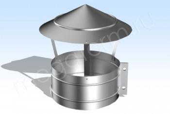 Зонт-Хомут Моно (К-к 225) d 100 L=200 Нж.Ст. (t=0,5) (Огнерус) - Производство и продажа полипропиленовых труб «МегаТерм»